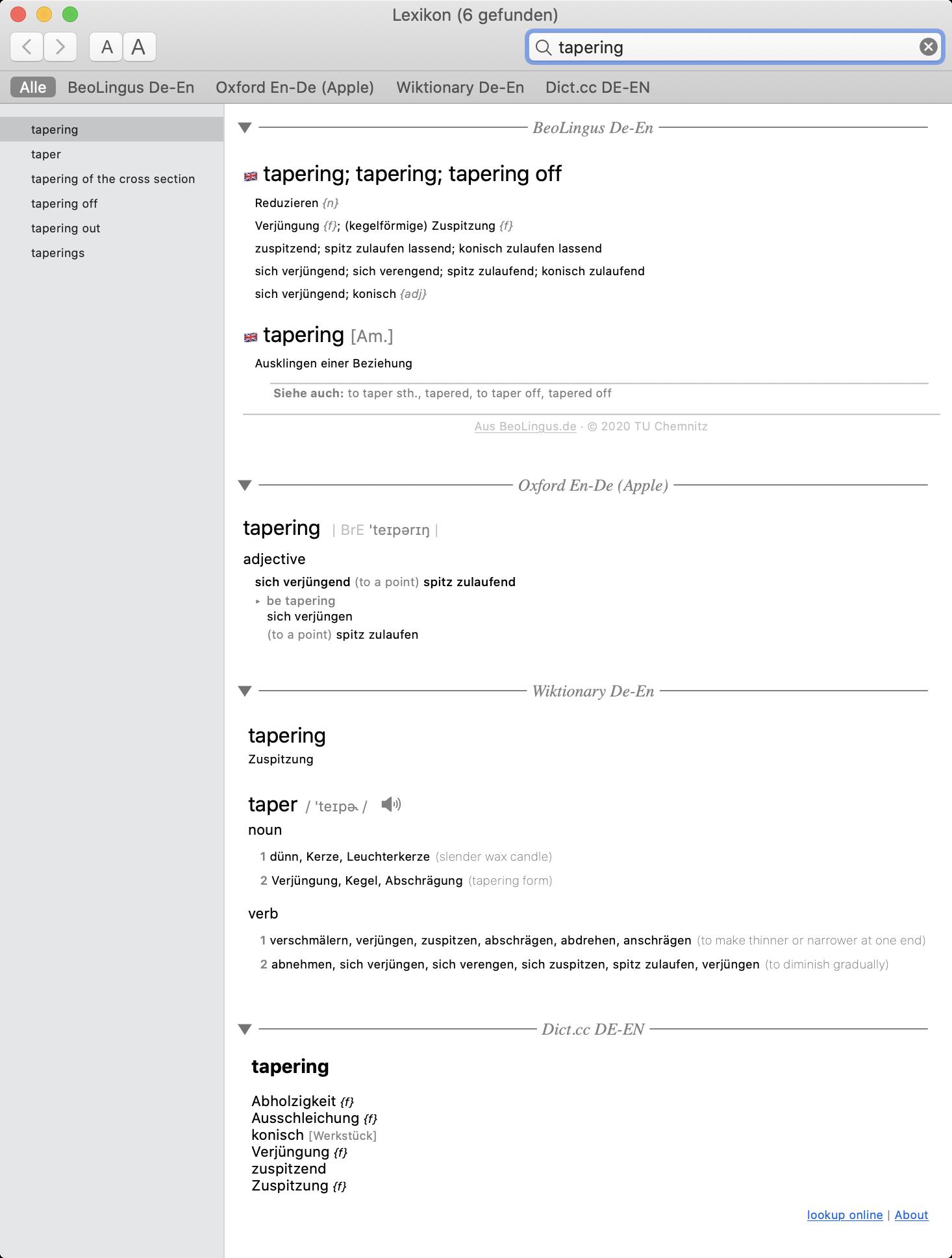 "Screenshot Lexikon-Suche nach dem Begriff ""tapering"""