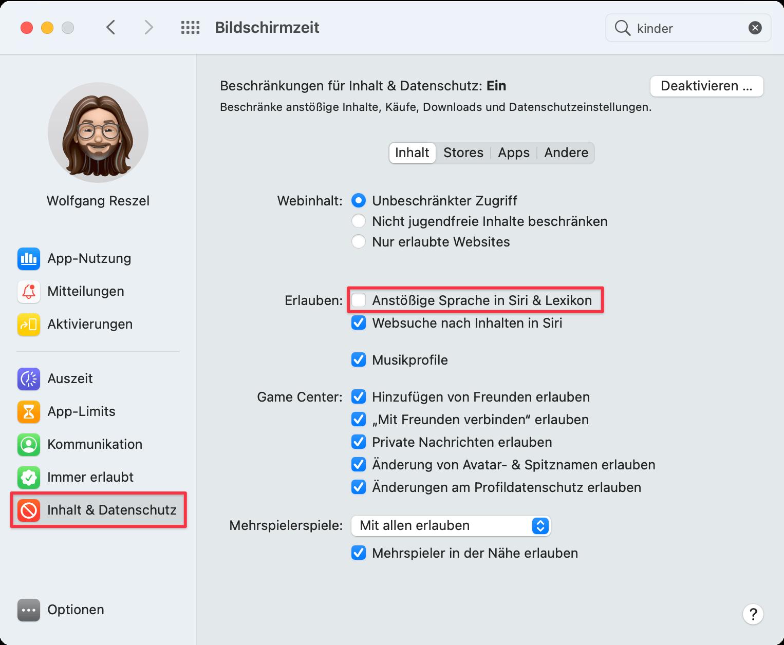 """Systemeinstellung """"Bildschirmzeit"""" in macOS 11 Big Sur"""