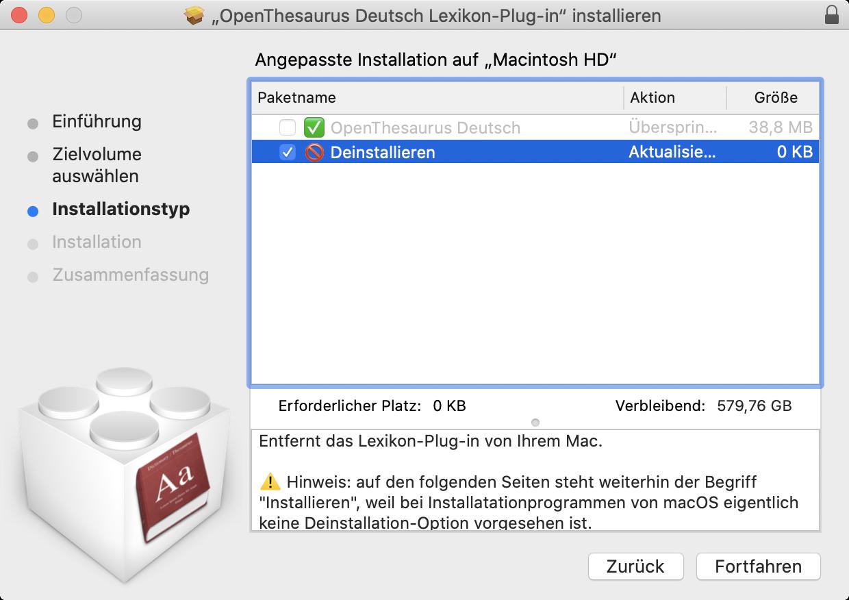 Screenshot: Deinstallieren mit dem Installationsprogramm