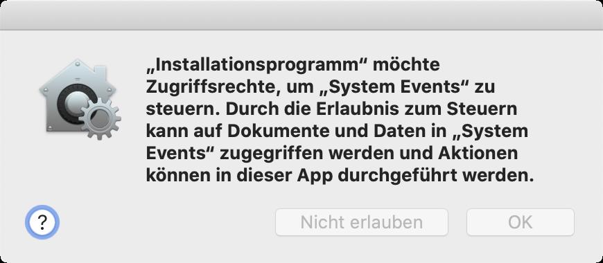 Screenshot: Installationsprogramm möchte System Events steuern