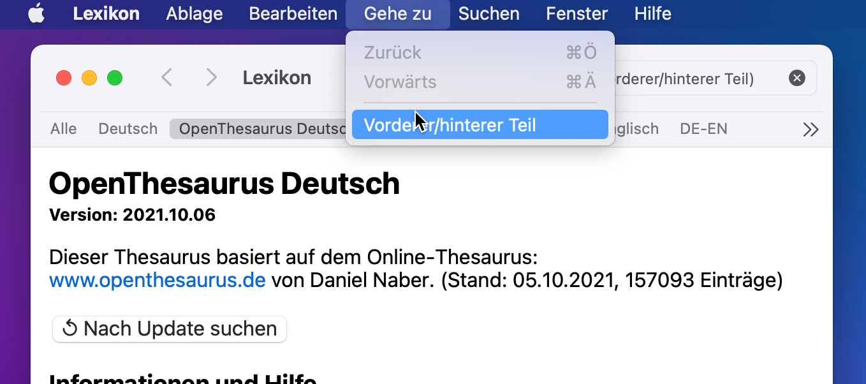 Screenshot: Lexikon-App mit geöffnetem Gehe-zu-Menü
