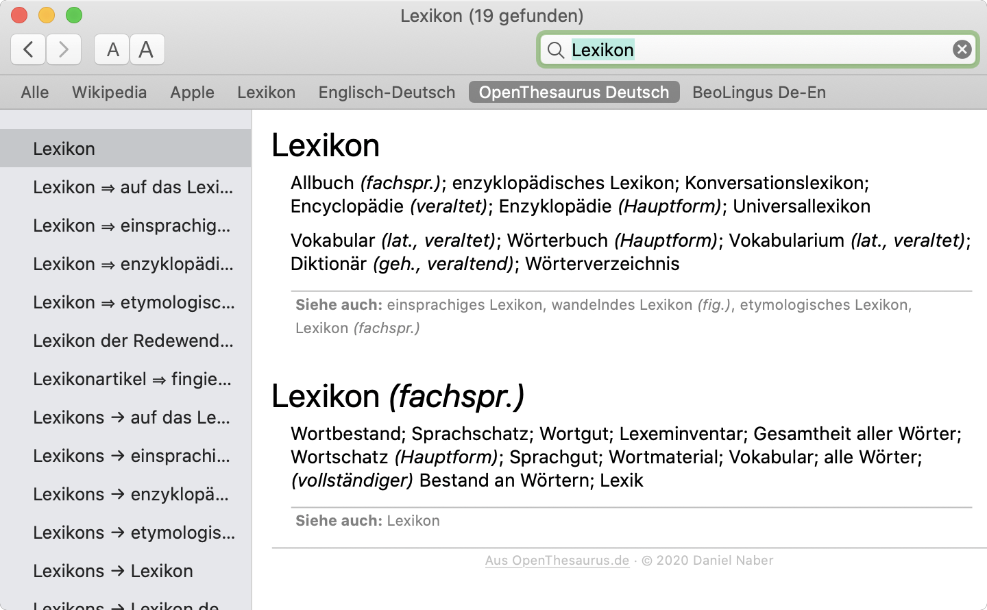 Screenshot Lexikon-App mit dem OpenThesaurus-Deutsch-Plug-in