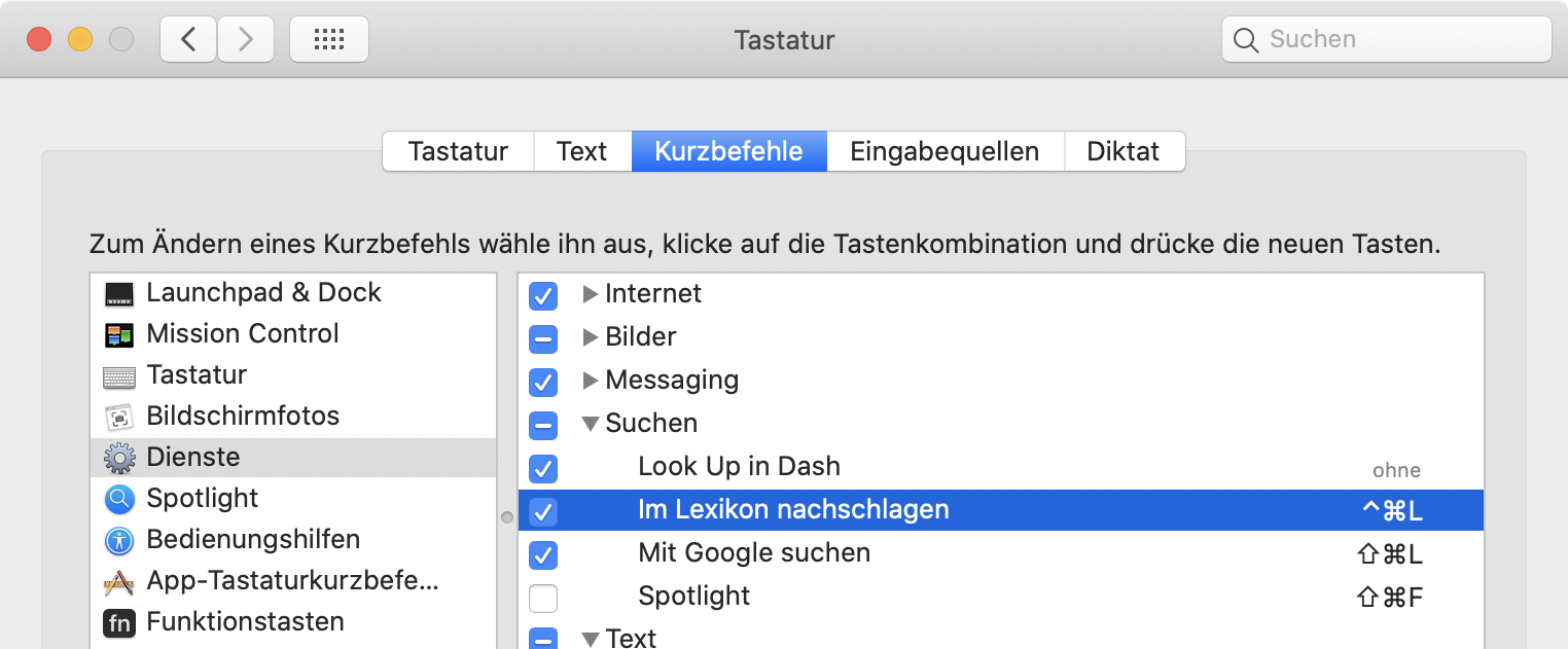 Screenshot: Systemeinstellung mit Dienstekonfiguration