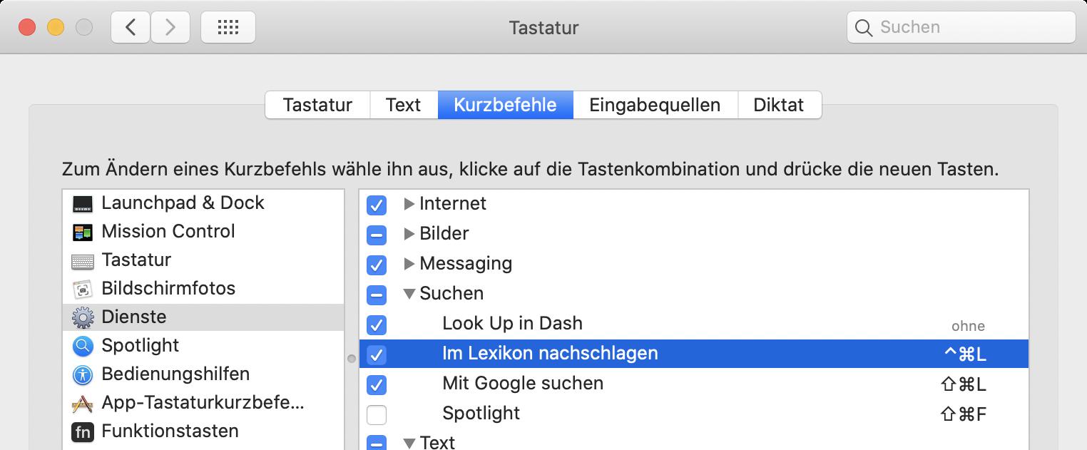 Screenshot: Systemeinstellung mit Dienstekonfiguration