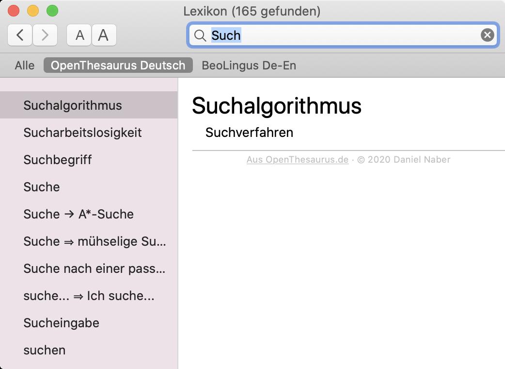 Screenshot: Lexikon-App