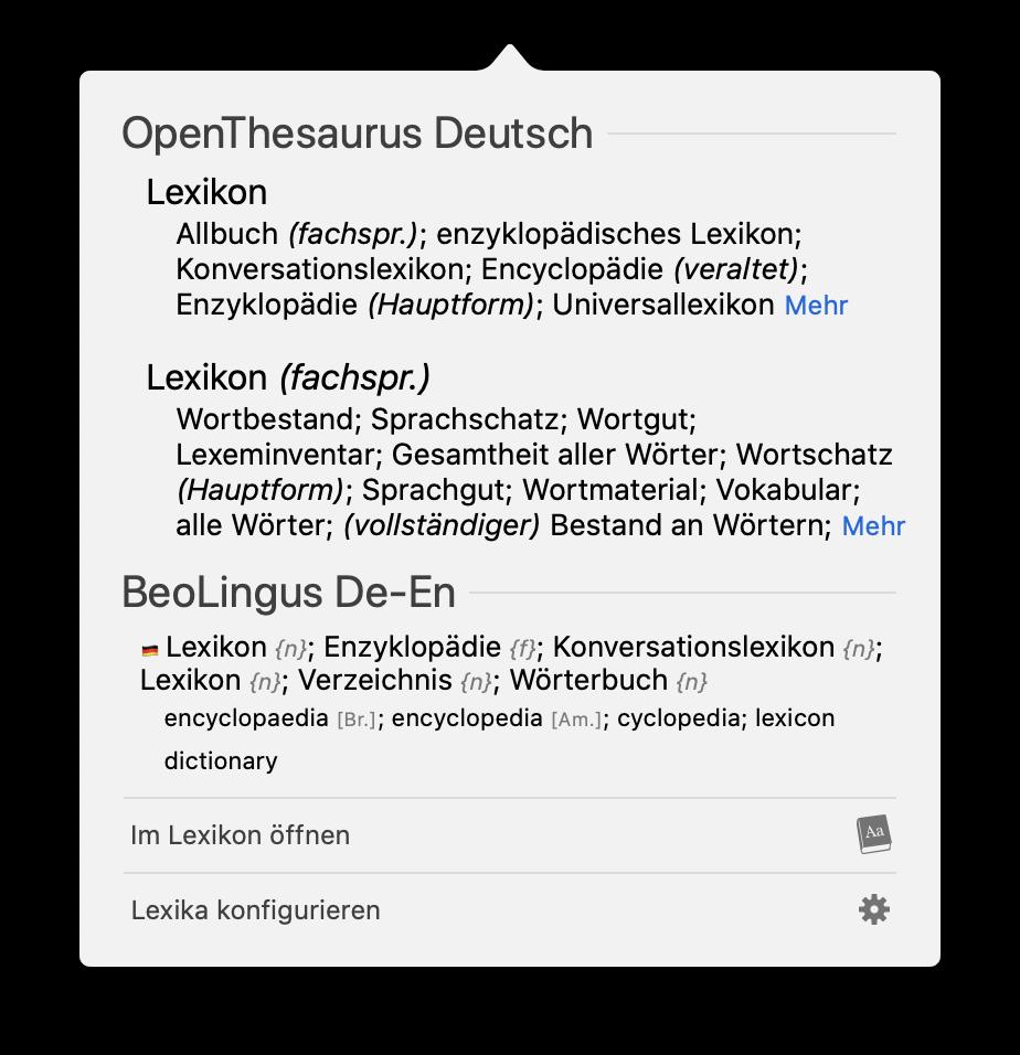 Screenshot: Nachschlagen-Fenster von macOS