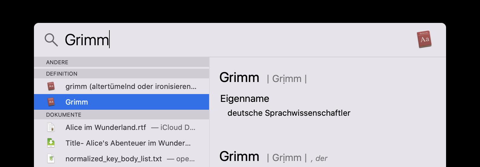 Screenshot: Spotlight-Suche