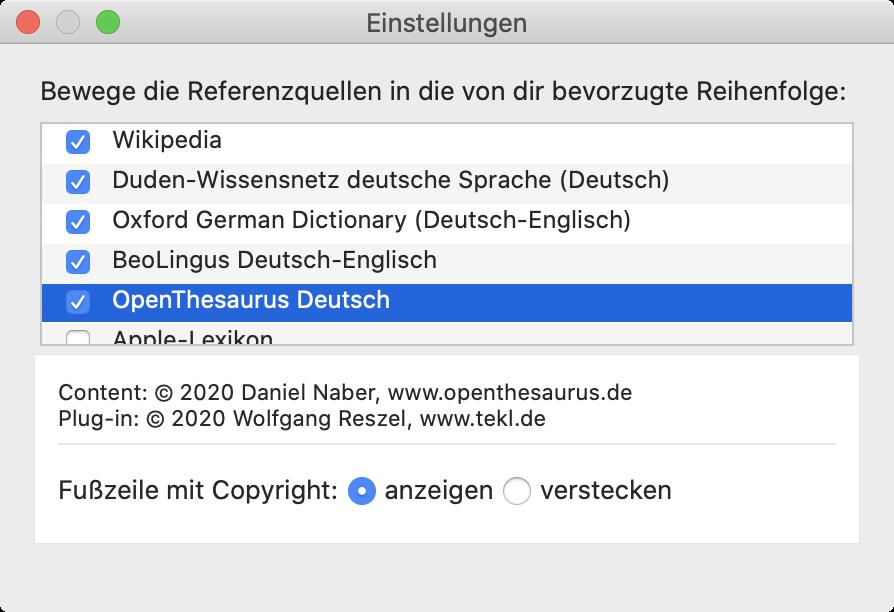 Screenshot: Einstellungenen der Lexikon-App